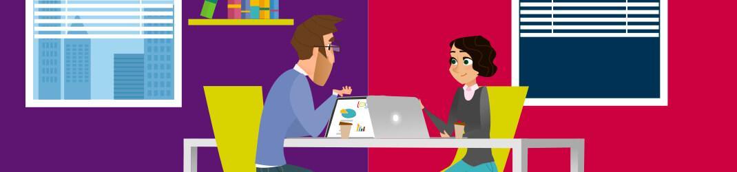 Hombre y mujer trabajando